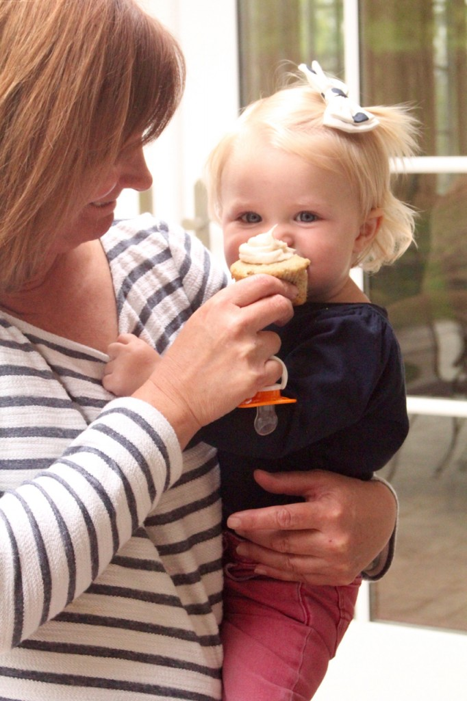 Tearsa and her granddaughter enjoy a cupcake.