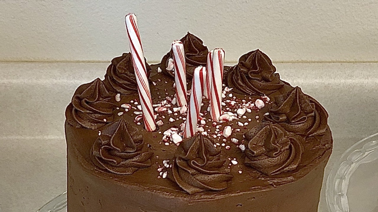 Chocolate Peppermint Stick Cake